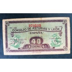 Billete Consejo Asturias y León 40 céntimos