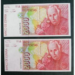 Pareja de billetes de 2.000 pesetas