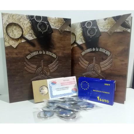 Oferta colección completa de la Aviación Española 2020 y moneda de 1 Euro de plata de Maurice Farman