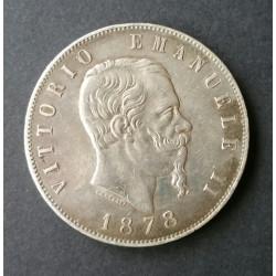 ITALIA 1878 - 5 LIRAS VITTORIO EMANUELE II PLATA