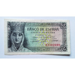 BILLETE DE 5 PESETA DE 1943