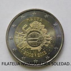 2 € MALTA X ANIVERSARIO DEL EURO 2012