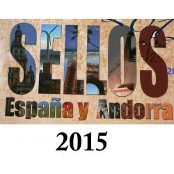 LIBRO FILATELICO CON SELLOS 2015 ESPAÑA Y ANDORRA