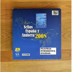 LIBRO FILATELICO CON SELLOS 2008 ESPAÑA Y ANDORRA