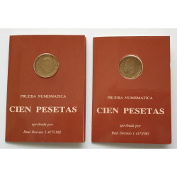 2 carteras 100 Pesetas 1982 Prueba