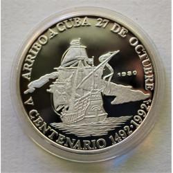 PLATA CUBA 10 PESOS 1990 V CENTENARIO ARRIBO A CUBA